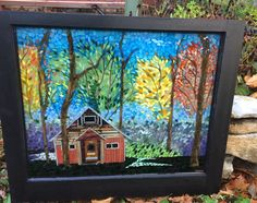 Stained glass mosaic barn with fall trees on a vintage Kansas window, courtesy of Kickin' Glass Kansas.