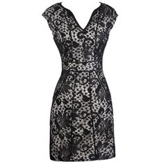 Lace Pencil Dress With Fabric Piping In Black