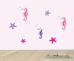 Bedroom Wall DecalsSeahorses and Starfish Wall by JanetteDesign, $32.00