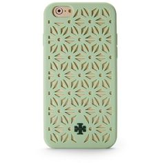 Tory Burch Floral Perforated Silicone Case For Iphone 6 (72 CAD) ❤ liked on Polyvore featuring accessories, tech accessories, phone cases, phone, cases, iphone cases, green, green iphone case, tory burch iphone case and iphone cover case