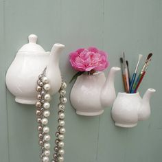 Porcelain Teapot Wall Vase And Hook- A nice way of adding some decoration in the kitchen.