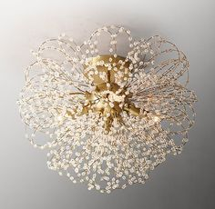 Delicate wire loops are adorned with hundreds of tiny crystal beads that sparkle with a soft glow when illuminated.SHOP THE ENTIRE COLLECTION ▸ Nate Berkus, Bedroom Lighting, Home Lighting, Unique Lighting, Bar Deco, Rh Teen, Kelly Wearstler, Flush Mount Lighting, Chandelier Lighting