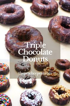 My Triple Chocolate Donuts are the perfect guilt-free way to enjoy a delicious treat and satisfy that sweet tooth! Eat them as is or top them with your favorite topping. These are great for breakfast or a quick snack. Perfect gluten-free, dairy-free, refined-sugar free Chocolate Donuts.  via @ThePeacheePear