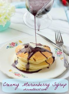 creamy marionberry syrup with sour cream pancakes, the best breakfast ever! ohsweetbasil.com