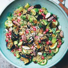Quinoa, almond and mint salad recipe from Green Kitchen Travels by David Frenkiel Salad Recipes, Vegan Recipes, Free Recipes, Mint Salad, Green Kitchen, How To Cook Quinoa, Falafel, Food Blogs, Food Inspiration