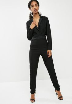 78d7ed19fee Longsleeve tailored jumpsuit - black dailyfriday Jumpsuits