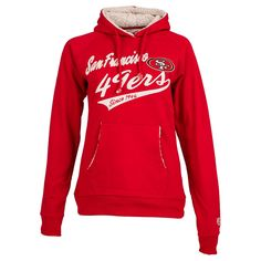San Francisco 49ers Hoodie    Pullover this San Francisco 49ers NFL women's flair fleece hoodie and pair it with your favorite jeans for a look that will be sure to stand out from the other fans. Whether you are spending a relaxing day at home or out with friends cheering on the San Francisco 49ers to their next big win. This premium heavyweight hoodie will keep you feeling stylish and cozy.     Featuring a sherpa lined hood pocket trims appliqued San Francisco 49ers team name and official…