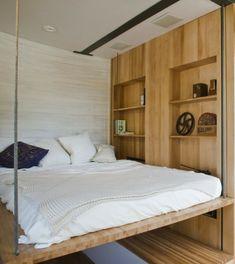 lit escamotable plafond, decoration en bois