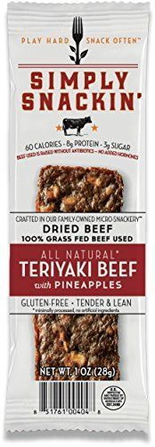 Simply Snackin  ALL Natural Teriyaki Beef with pineapples 12 snacks ** Continue to the product at the image link.