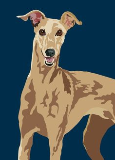 happy Greyhound by animalsincolor on Etsy