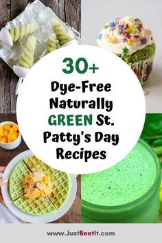 Throw out that fake green dye and say HELLO to Mother Nature's vibrant green colors perfect for celebrating St. Patrick's Day with delicious, naturally green, and healthy foods and drinks. These 30+ recipes are green and delicious, perfect for St. Patty's Day!