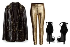 """Black x Gold x Sequin"" by hautecoutureblvd on Polyvore featuring Boohoo"