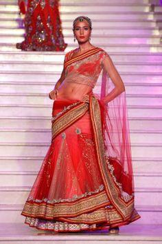 Lehenga 1 Trousseau Week 2013 fashion show Indian Bridal Lehenga, Red Lehenga, Indian Bridal Wear, Indian Wedding Outfits, Indian Wear, Indian Weddings, Indian Fashion Trends, All Fashion, Fashion Show