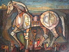 Bruno Zupan, Trojan Horse, c. Trojan Horse, Trojan War, Animal Vegetable Mineral, Moon Garden, Garden Studio, Pastel Shades, Album Covers, Mythology, Mid Century