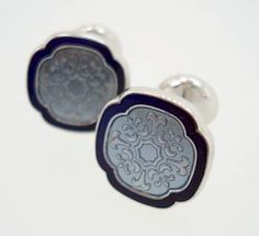 Victorian Ice Blue & Navy Enamel Cufflinks: I really like these floral patterns. They're classic and interesting to look at without being too flashy.
