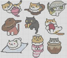 This is an awesome pattern of 9 different nekos!!! THis addictive little game is so much fun! It is very easy and fits on a 10 hoop. No