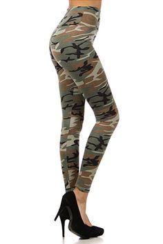 High Waist Camouflage Leggings | World of Leggings- $38.00