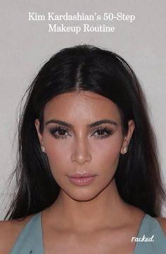 The 50-Step Guide to Kim Kardashian's Makeup Routine: (http://www.racked.com/2015/8/10/9117195/kim-kardashian-mario-dedivanovic-contouring-secrets?utm_content=buffer90511&utm_medium=social&utm_source=pinterest&utm_campaign=racked)