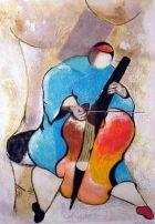violoncélliste abstrait bleu