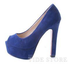 Fashinable Blue Stiletto Heel Peep-toe suede Wedding Shoes