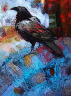 Crow Art, Raven Art, Bird Art, Black Bird Fly, Crow Painting, Illustration Art, Illustrations, Crows Ravens, Kraken