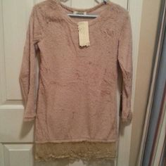 LIGHT SWEATER SHIRT WITH LACE BOTTOM CAN WEAR WITH LEGGINGS. NWT. Tops