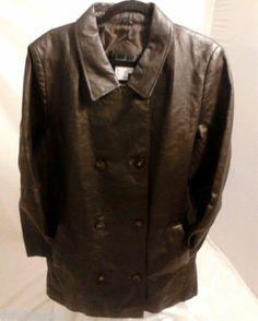 VIA ACCENTI Womens Brown Leather Jacket, Medium Size