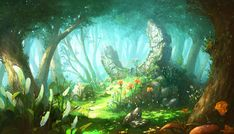 (Image) Welcome to the Concept Thread for the next Monthly Community Noob Challenge! Fantasy Art Landscapes, Fantasy Landscape, Landscape Art, Environment Concept Art, Environment Design, Fantasy Places, Fantasy World, Fantasy Background, Forest Background