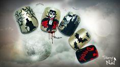 Dracula Vampire Scary Halloween Nail Art