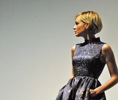 Carey Mulligan short blond bob - BUT... can we talk about this awesome sparkly dress, with pockets?
