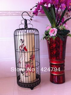 Wrought iron bird cage pendant light chinese style lamps japanese style antique vintage birdcage lamp floor lamp(China (Mainland))