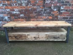industrial chic reclaimed wood tv stand media unit by