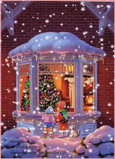 Christmas Tree Gif, Winter Christmas Scenes, Merry Christmas Pictures, Christmas Scenery, Xmas Pictures, Christmas Drawing, Christmas Mood, Christmas Paintings, Christmas Lights