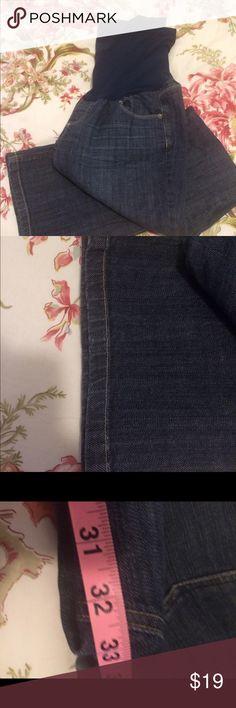 "Maternity bootcut jeans from motherhood Maternity Dark wash, 32"" inseam, full panel, boot cut, minimal wear, no fraying on hem american star Pants Boot Cut & Flare"