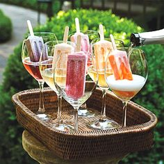 Champagne over popsicles for a summer treat