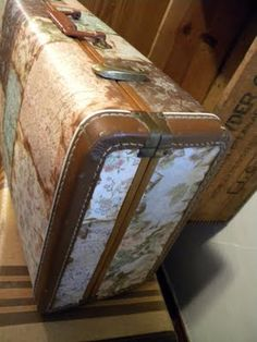 Modge Podge scrap book paper to suitcase.....I have a chest that I am going to spray paint and do this......yay!!