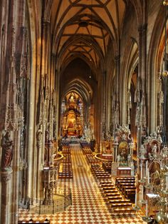 Interior view of 18 altars in Stephansdom or St Stephens Cathedral, Vienna, striking building with North & South Tower.