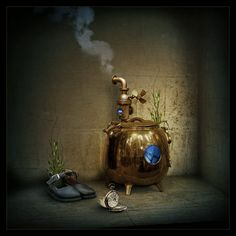 Still life with a gold pocket watch by Pavel Kaplun
