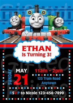 Birthday Invitation • Thomas the Train Theme • No cost economy shipping • Fast turnaround time • Great customer service • These birthday invitations are custom, high resolution digital files that are personalized for each customer upon order