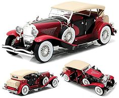 Duesenberg II SJ Red and Black Scale Die-Cast Metal Vehicle Greenlight Collectibles Vehicles Vehicles: Die-Cast Model Cars Kits, Kit Cars, Car Kits, Dollhouse Furniture Kits, Diy Dollhouse, Old Classic Cars, Classic Toys, Smart Car Body Kits, Vintage Cars