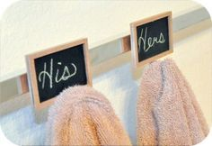 7 unique ways to hang organize bathroom towels, bathroom ideas, home decor, Use picture frames or chalk board hooks to label towel hooks