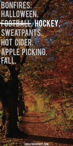 Bonfires, Halloween, HOCKEY, sweatpants, hot cider, apple picking. These are…
