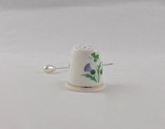 Vintage Thimble Purple Flower Made in England Sewing Notions