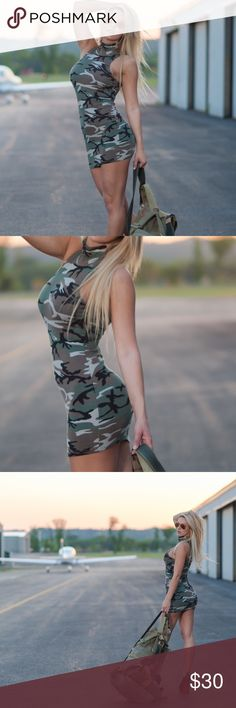 Camouflage dress Turtle neck camouflage dress. Worn once for a photoshoot. Dresses Mini