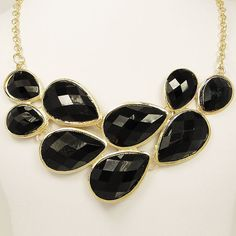 High Quality Gold Tone Statement Necklace Black by BellaJewelry4u, $11.99