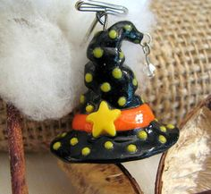 Pendant  3D Witch Hat  Polymer Clay  Handmade by molliebrown