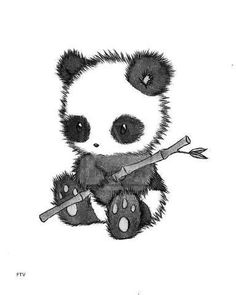 Cute little panda holding bamboo sticks.
