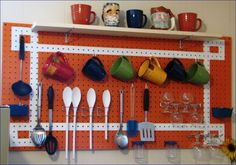 kitchen peg board - love the pattern! Would paint it pale turquoise or yellow. Painted Pegboard, Pegboard Organization, Vintage Light Fixtures, Home Budget, Painted Floors, Sewing Rooms, Luxury Decor, Saving Ideas, Kitchen Storage