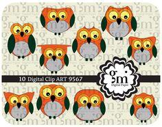 Owl, Owl Clip Art, Owl Clipart, Owl Digital Paper, Owl Digital, Instant Download, Orange Owl, Owl Decor - pinned by pin4etsy.com