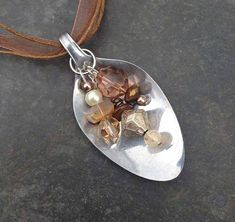Beaded Spoon Necklace Brown Beads Stainless by RecycledArtProject